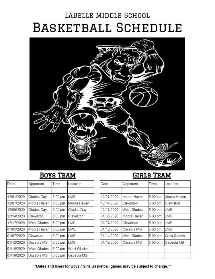 Basketball Schedule: 2020 / 2021 Boys & Girls Team