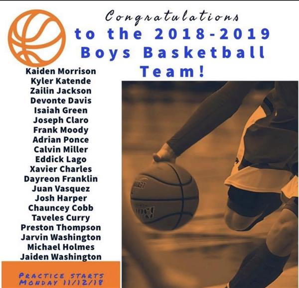 2018-2019 Boys Basketball Roster