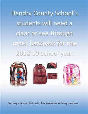 Clear See-Through Backpacks for 2018-2019 School Year